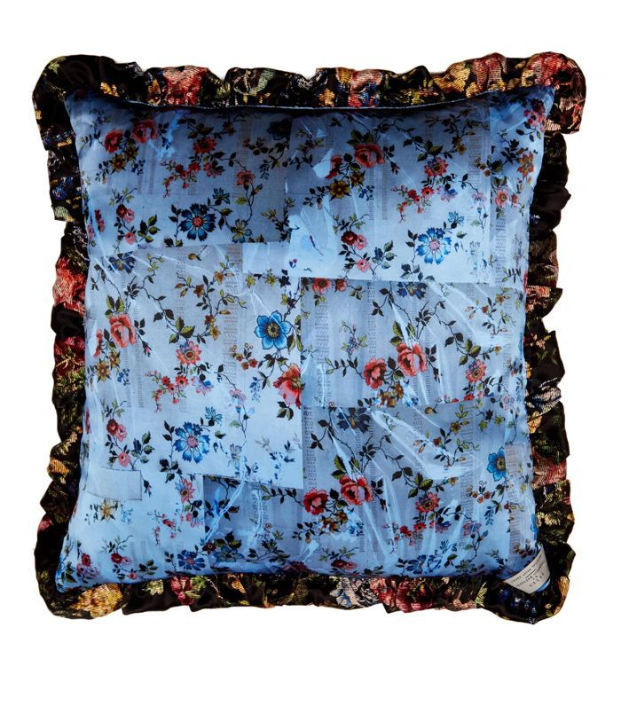 Tapestry and floral-print silk cushion