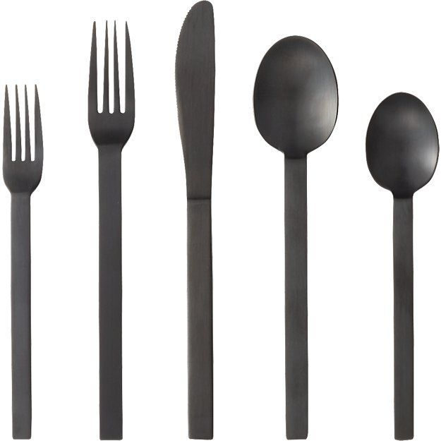 CB2 20-Piece Kat Matte Black Flatware Set