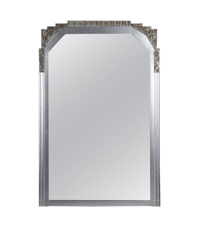 1stDibs Large French Art Deco Silvered Beveled Mirror