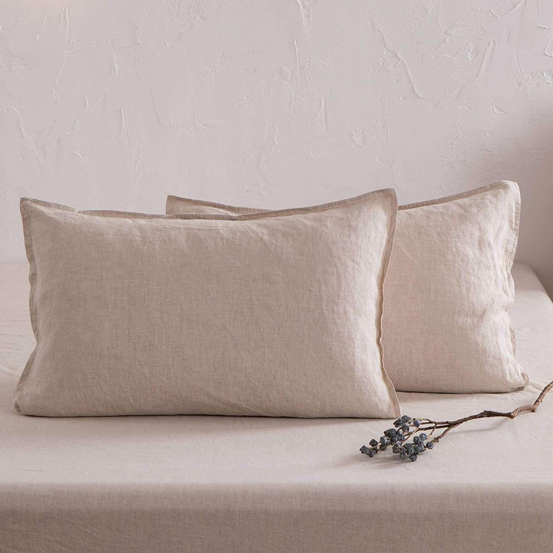 ATLINIA 100% Linen Pillowcases Set of 2