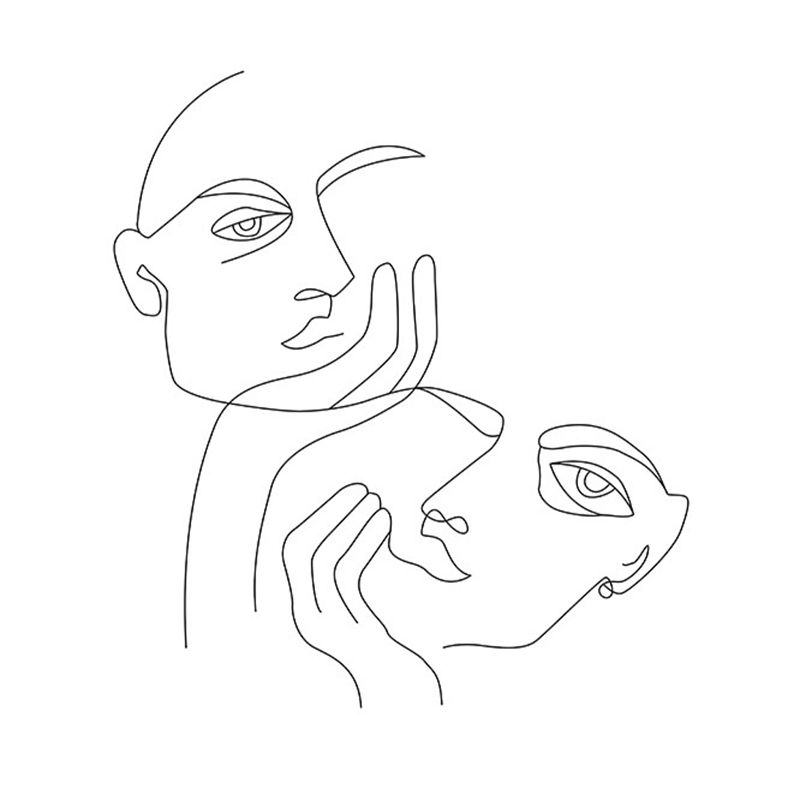 A line drawing of two heads resting in hands.