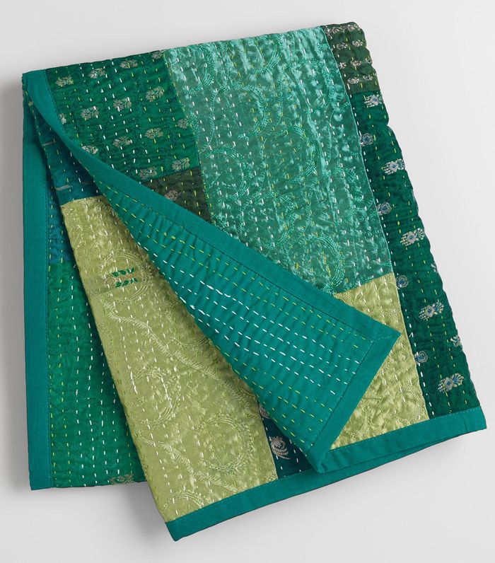 Peacock Kantha Sari Throw: Blue - Cotton by World Market