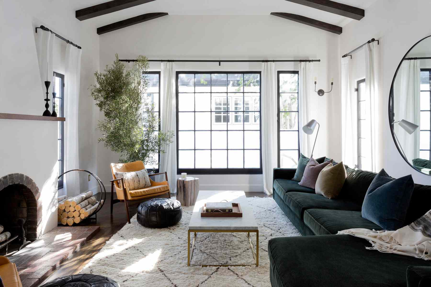 Bright and cozy living room with curtains hung