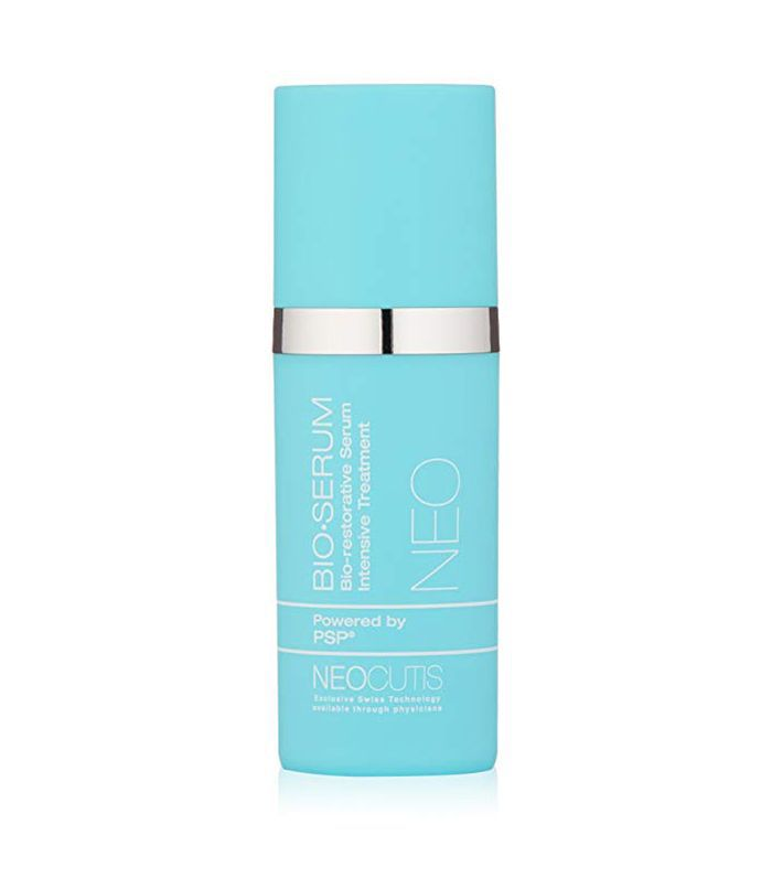 A blue cylindrical skincare product that reads, Neocutis Bio Serum.