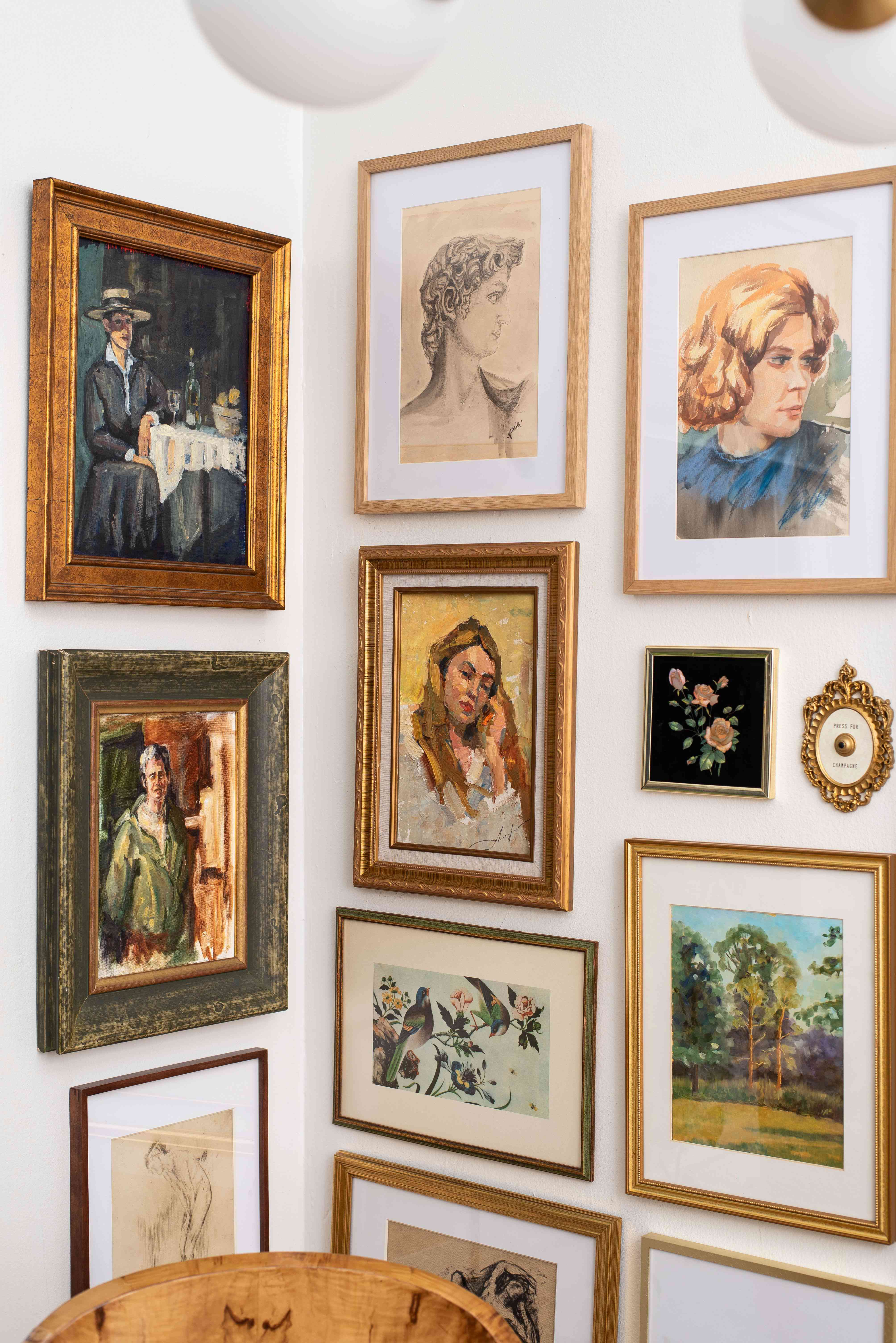 Close up of vintage art in gallery wall.