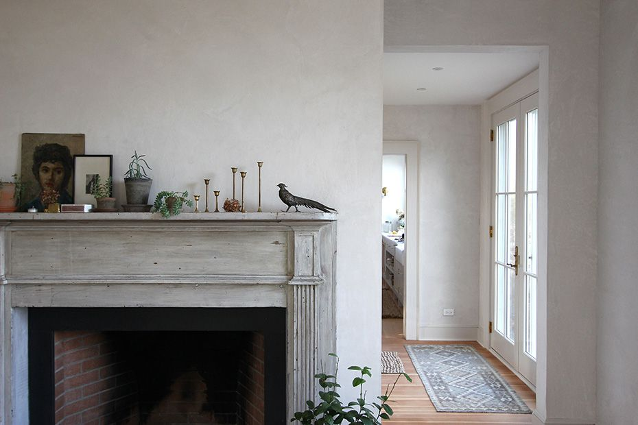 Fireplace with objects on it