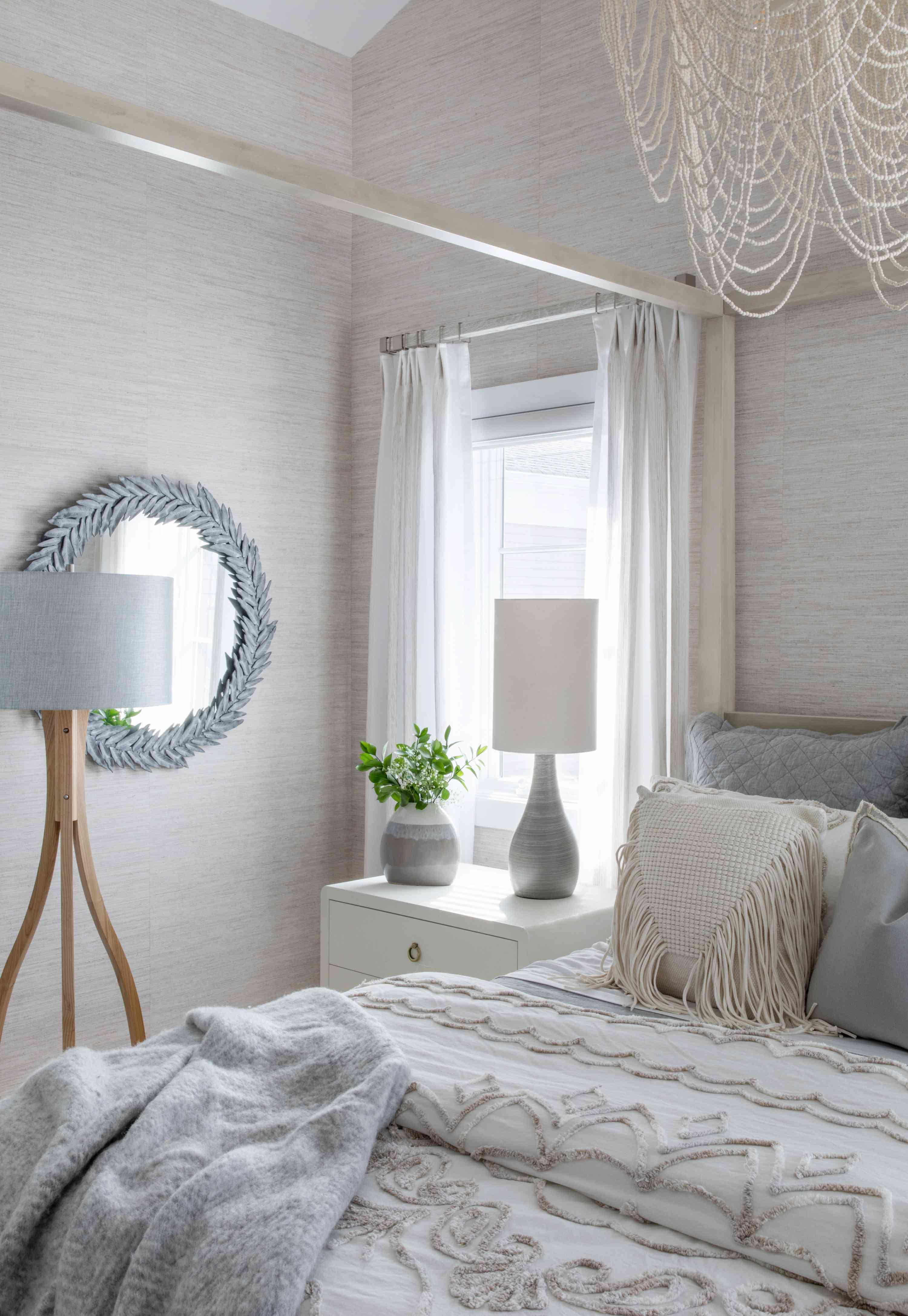 Neutral yet luxurious coastal bedroom.