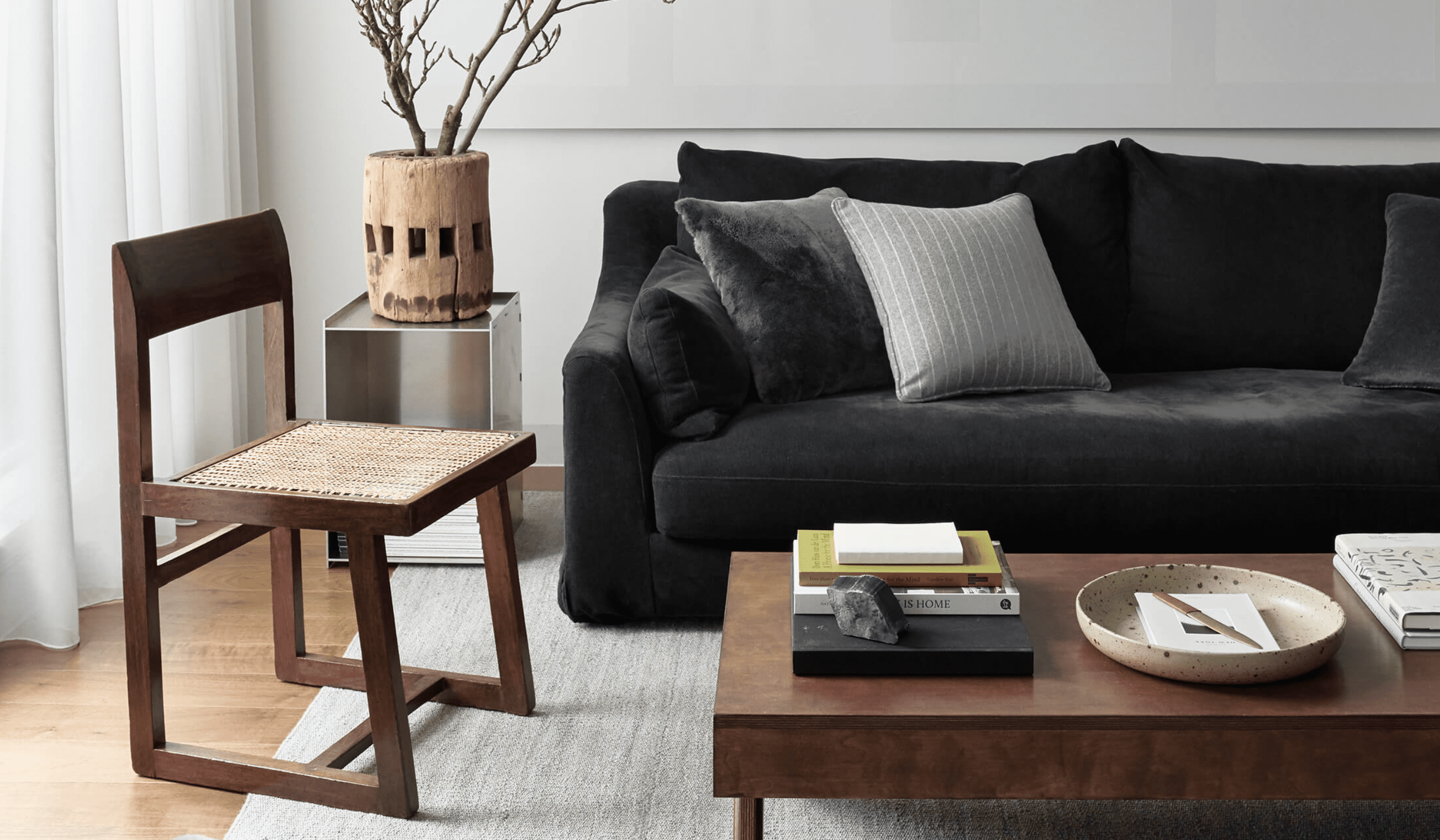 A living room filled with well-made midcentury modern furniture