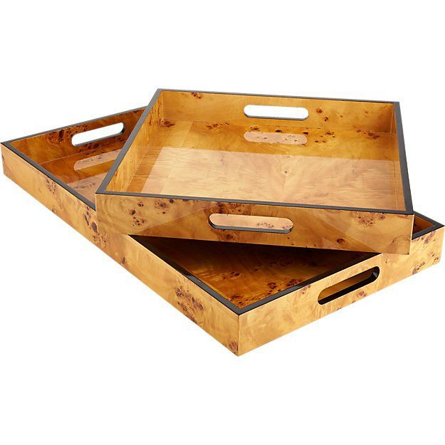 CB2 Burl Wood Rectangular Tray