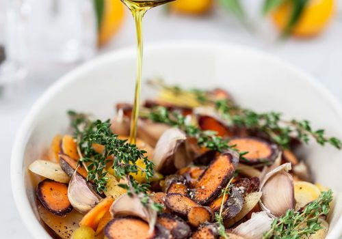 Roasted veggies drizzled with olive oil
