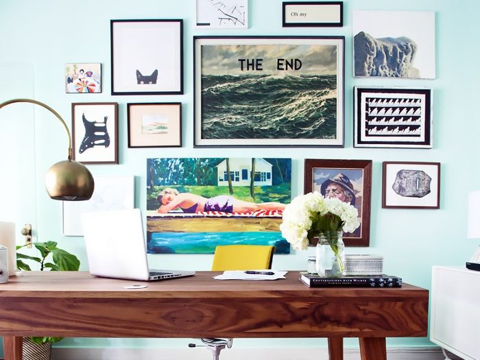 home office with aqua paint