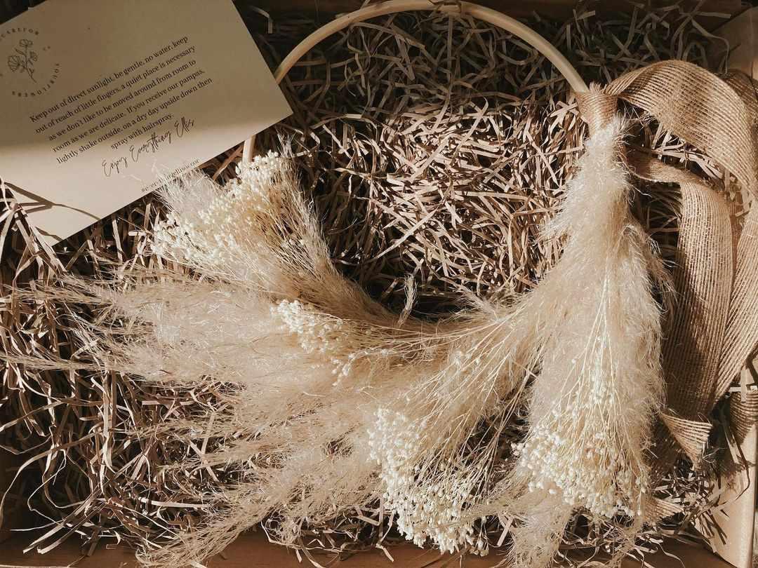 Everything Ellis dried pampas grass wreath.