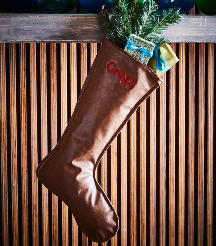 D. Stevens Faux-Leather Personalized Christmas Stocking