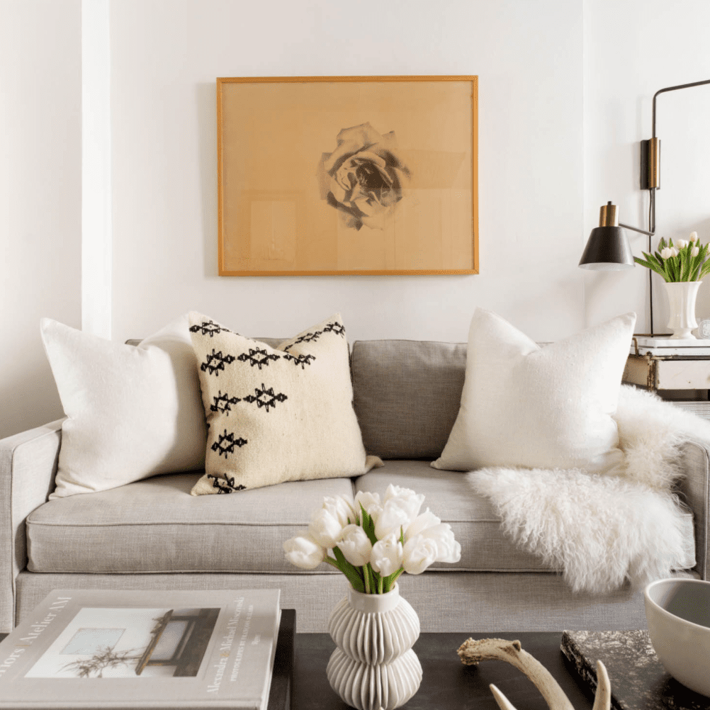 Soft neutral couch.