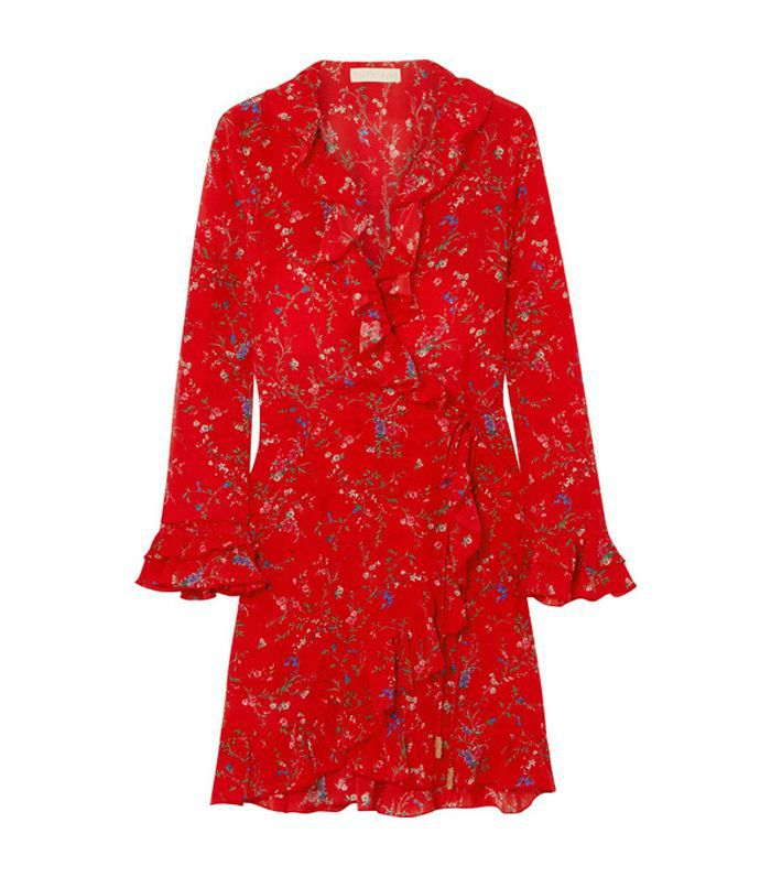 Fiesta Ruffled Floral-print Silk Wrap Dress