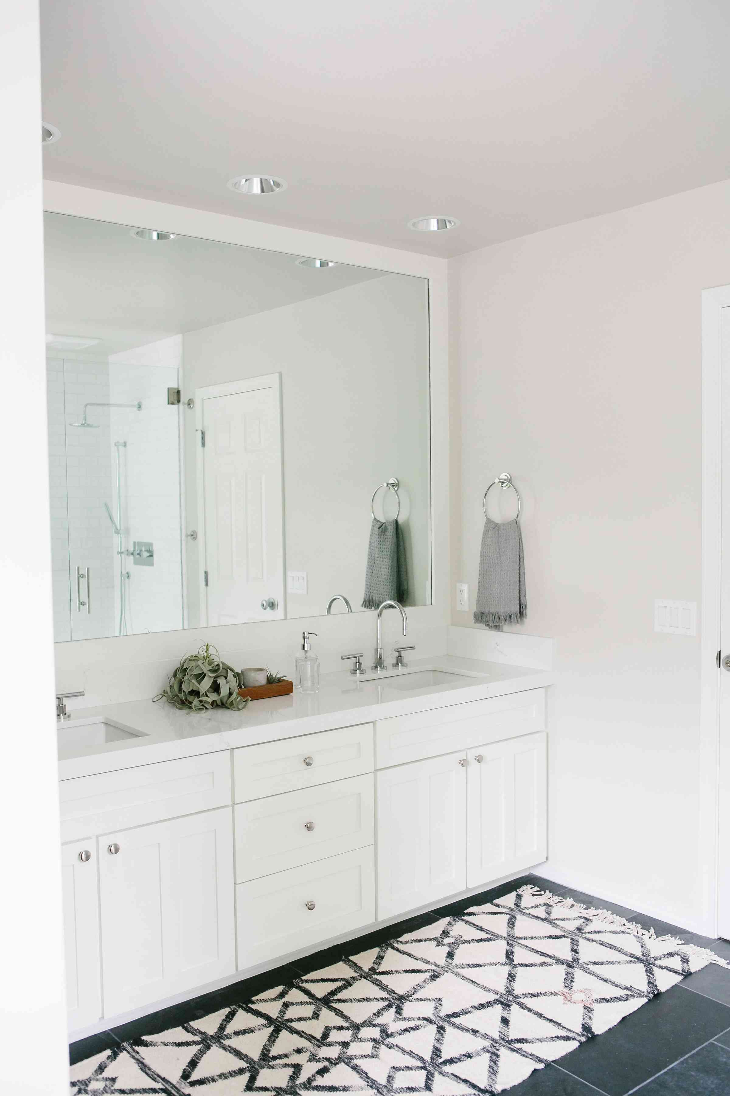 Bathroom painted in classic gray