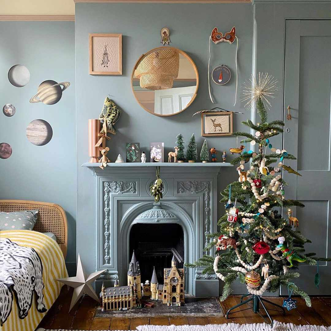 Colorful room with Christmas tree