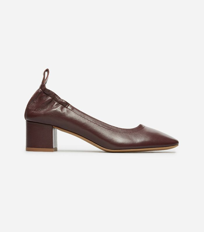 Women's Leather Block Heel Pump by Everlane in Oxblood, Size 8.5