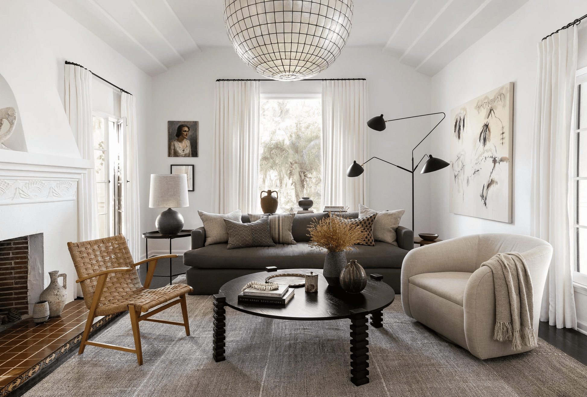 best living room ideas - white living room with dark accents