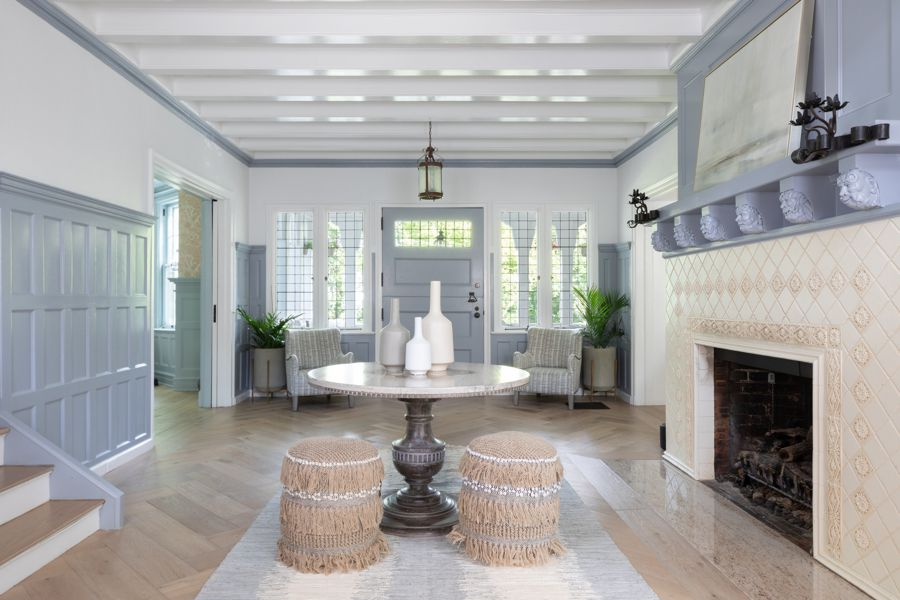 Coffered ceiling with blue paint