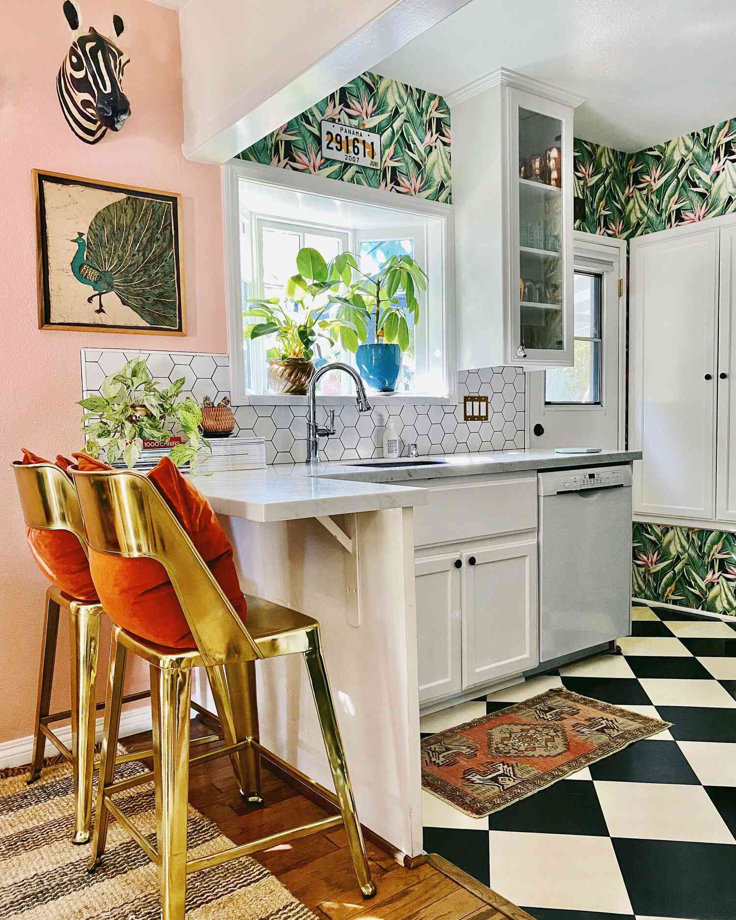best kitchen ideas - maximalist kitchen with bold colors and mixed patterns