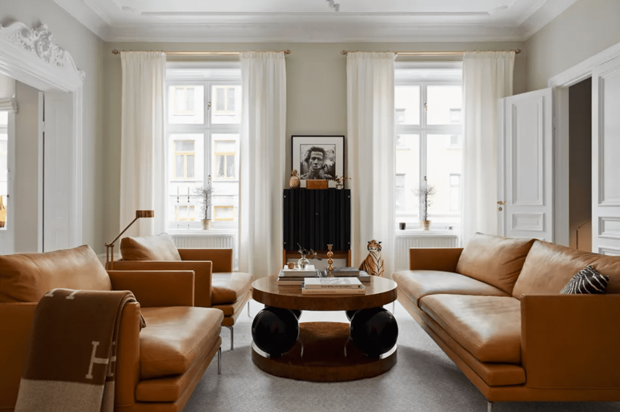 how to clean a leather couch - leather furniture in chic living area