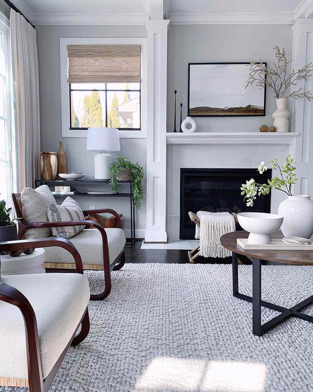 Neat living room with muted color palette.