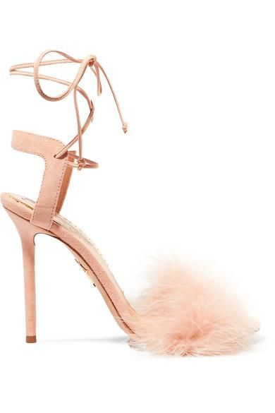Salsa Feather-trimmed Suede Sandals