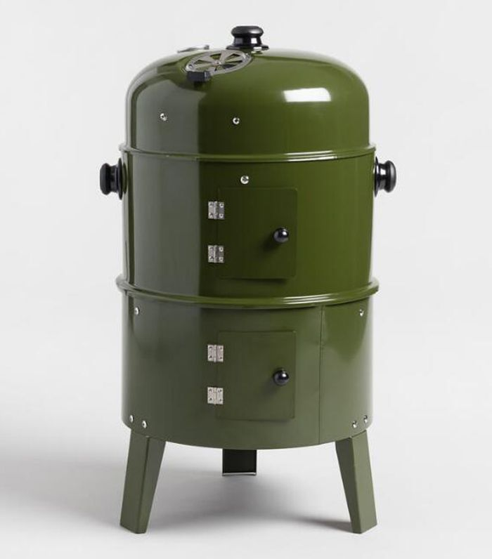 Army Green Charcoal Smoker: Gray/Green by World Market