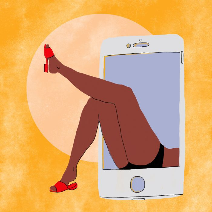 an illustration of a woman's legs coming out of a cell phone