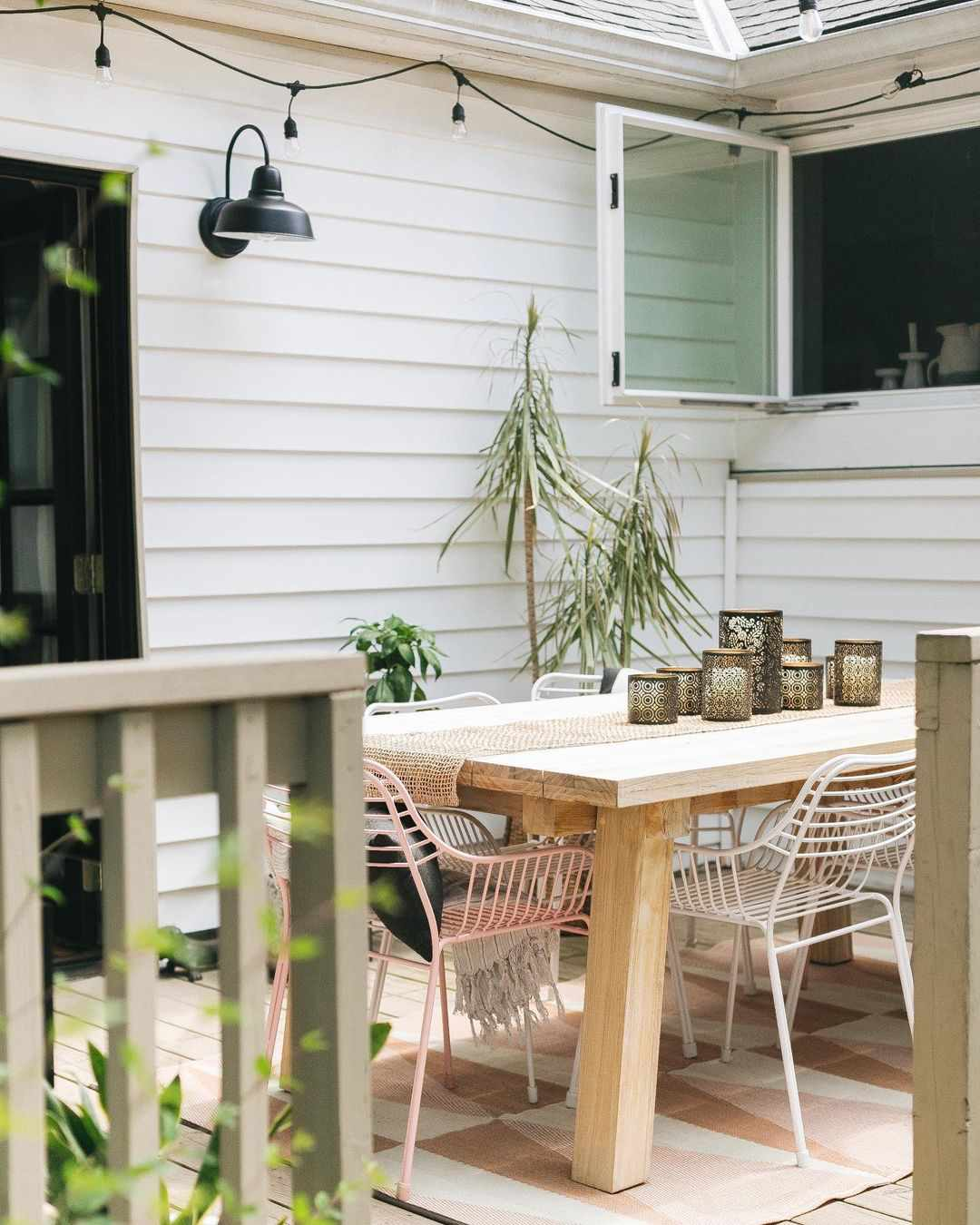 Outdoor patio with a dining table