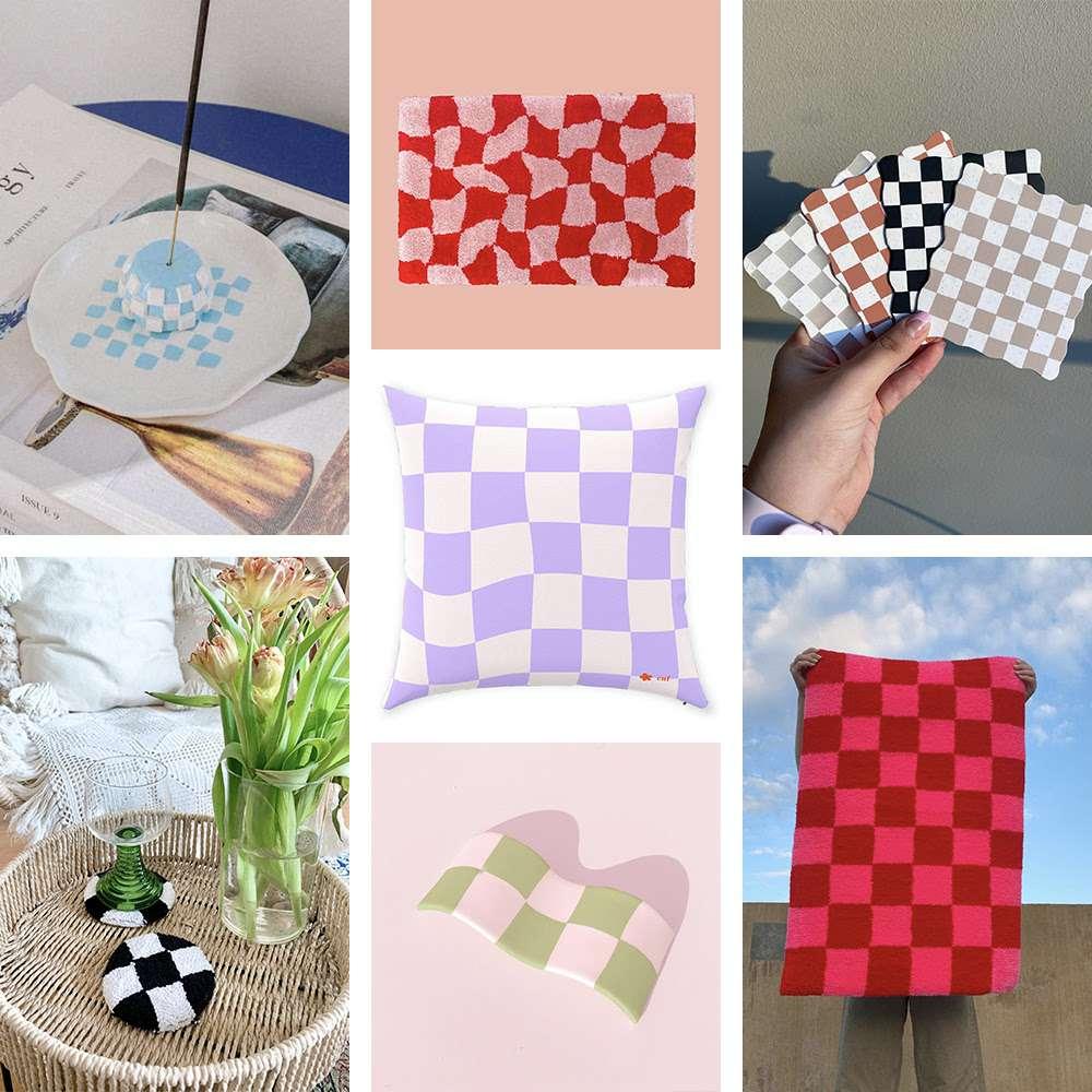 Collage of checkerboard print decor.