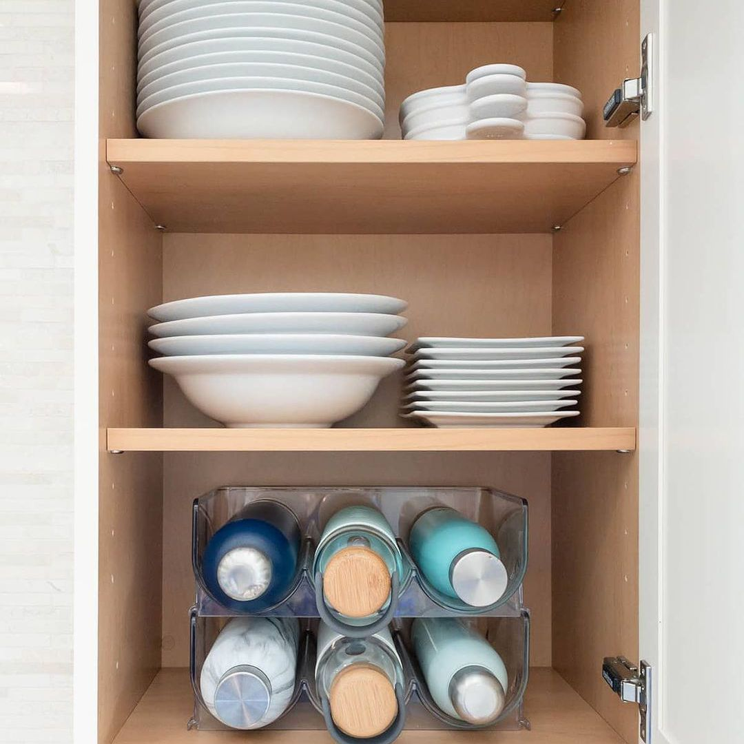 Plates and bowls in a cabinet