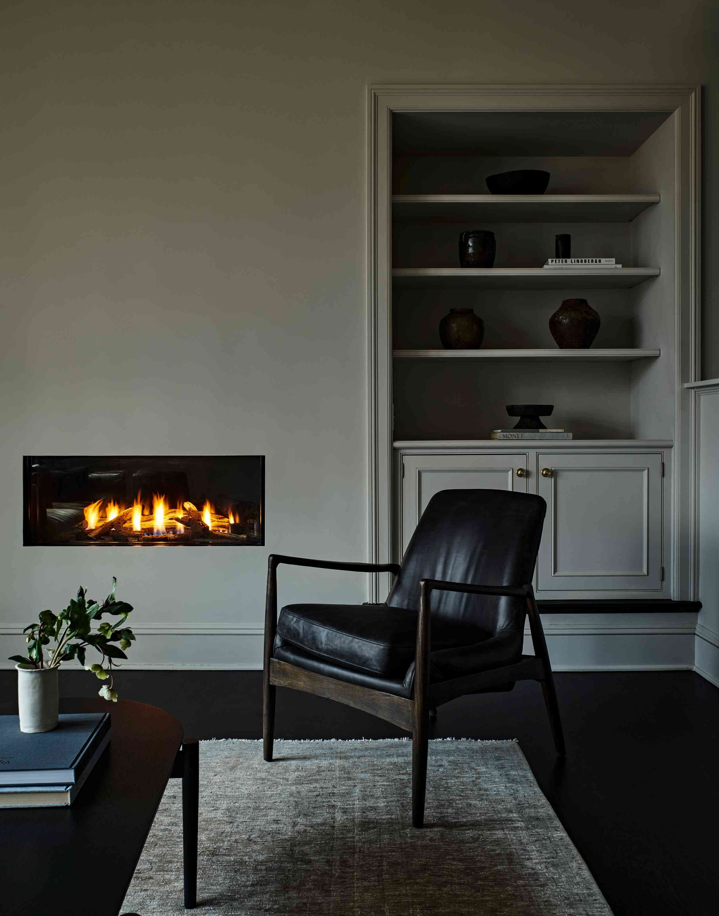 Simply appointed traditional living room corner
