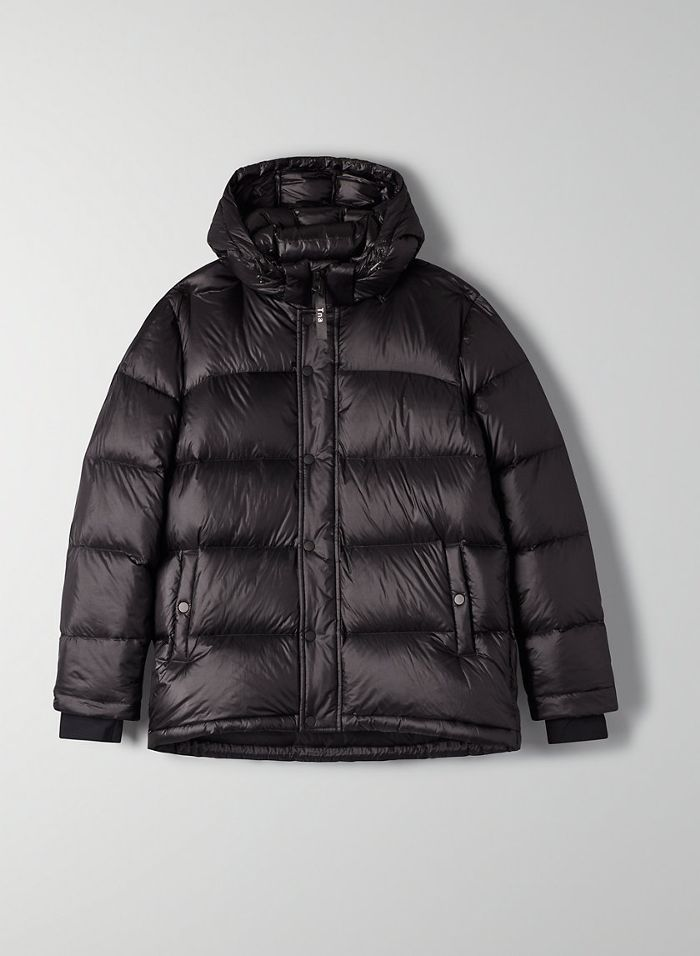Aritzia The Super Puff Goose-Down Puffer Jacket in Soft Shine Black