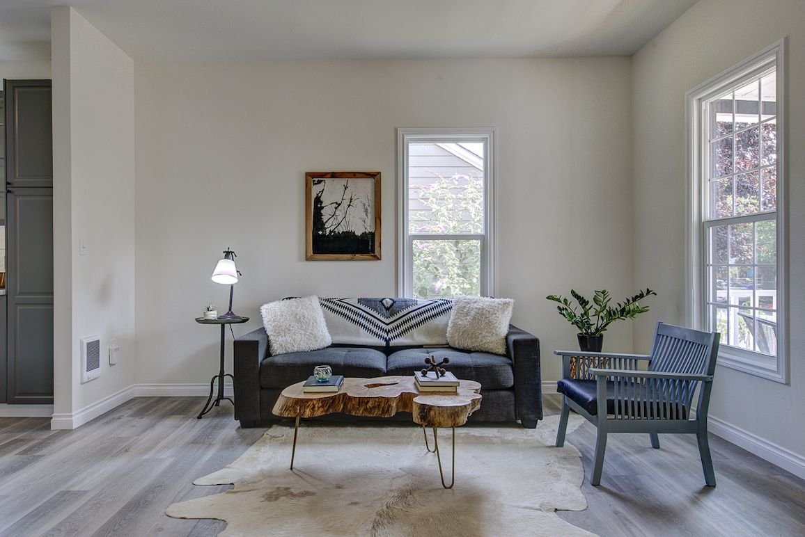 Living room with small couch