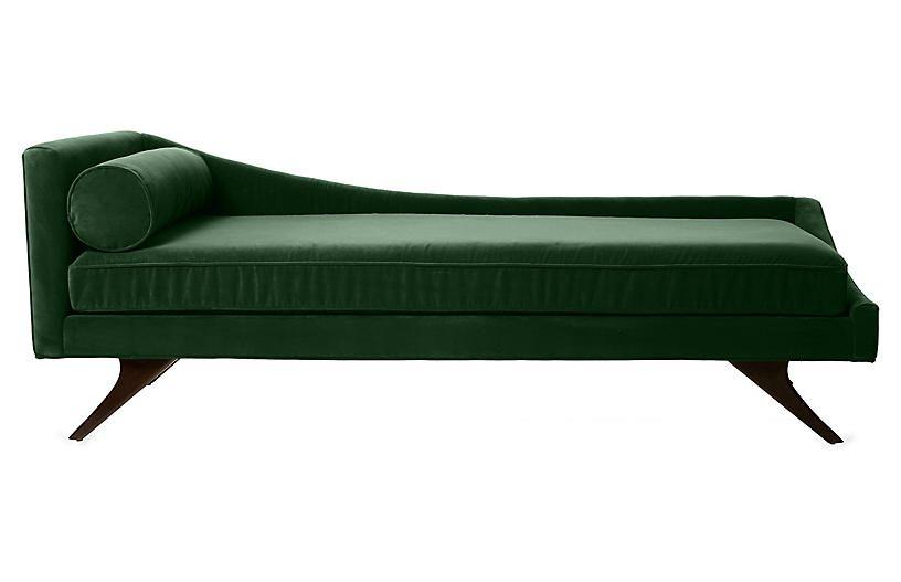Sansa Right-Arm Chaise in Emerald Velvet
