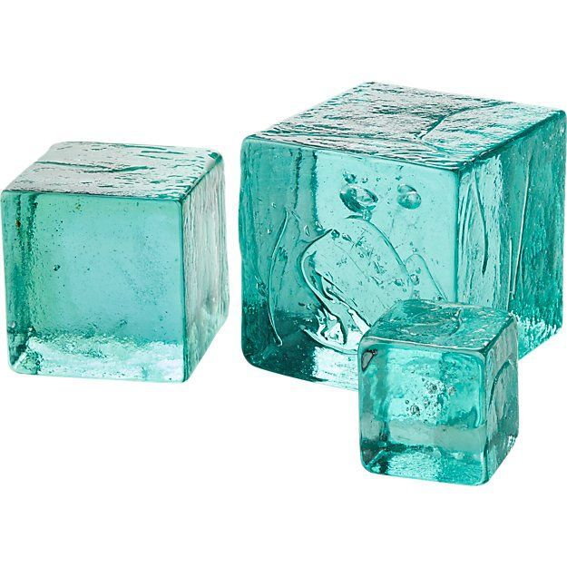 CB2 Recycled Glass Cubes, Set of 3