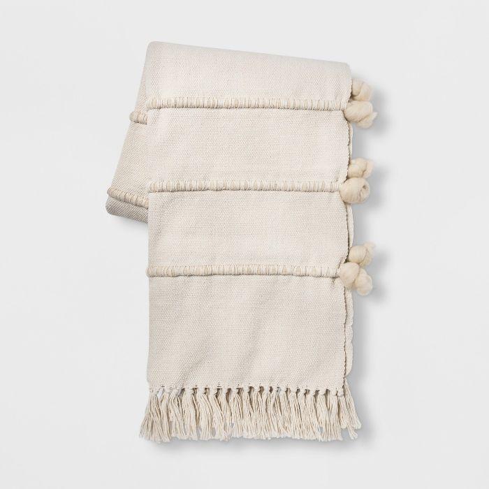 Opalhouse Wool Stripe Throw Blanket in Cream