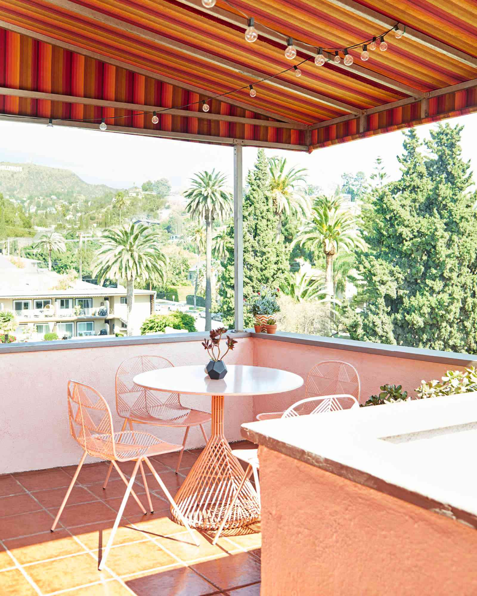 apartment patio with awning