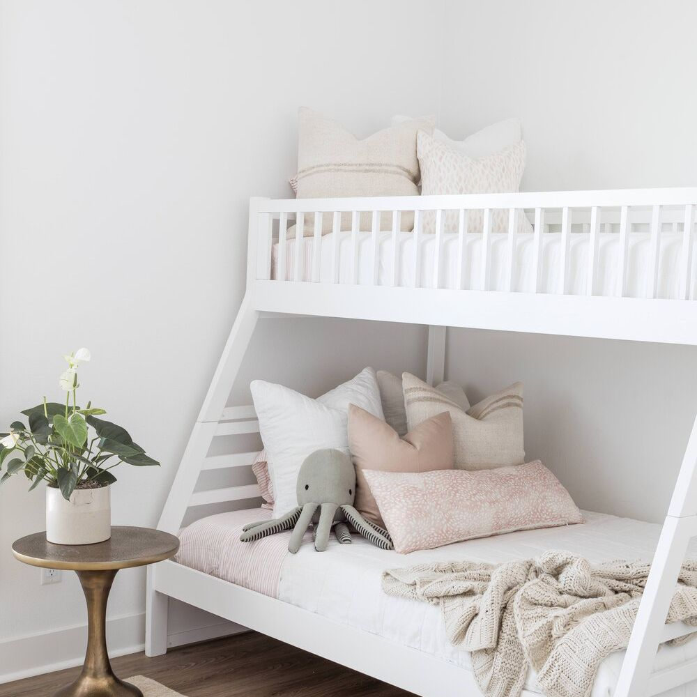 White kids room with bunk beds