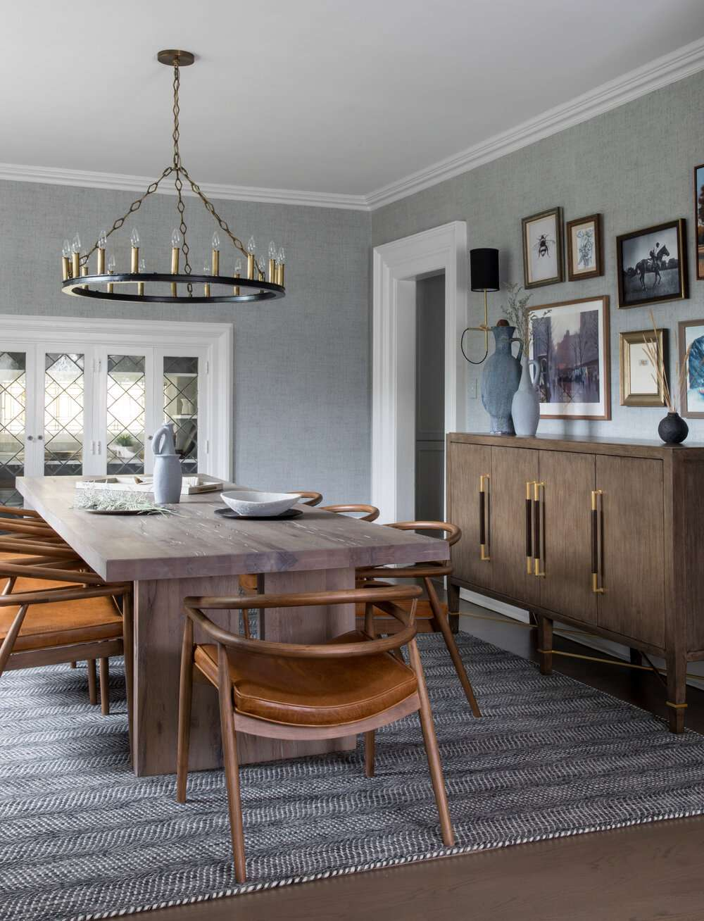 gray dining room with wood table