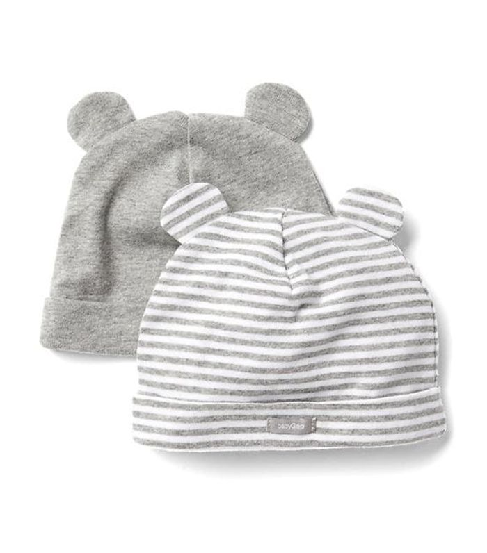 Women Favorite Stripe Knit Bear Hat 2 Pack