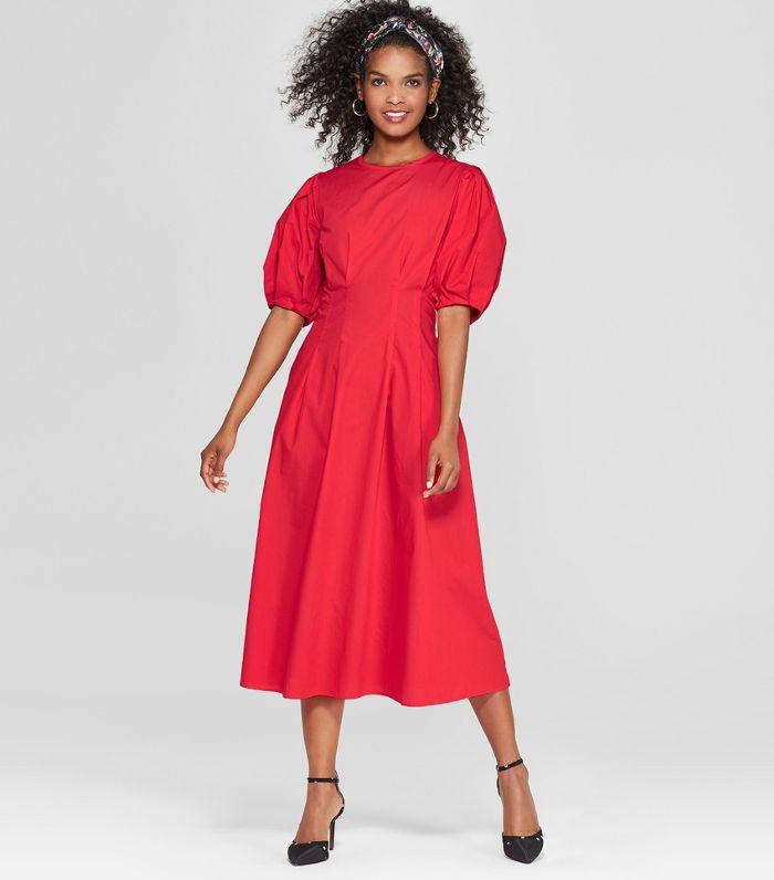 Women's Puff Sleeve Midi Dress