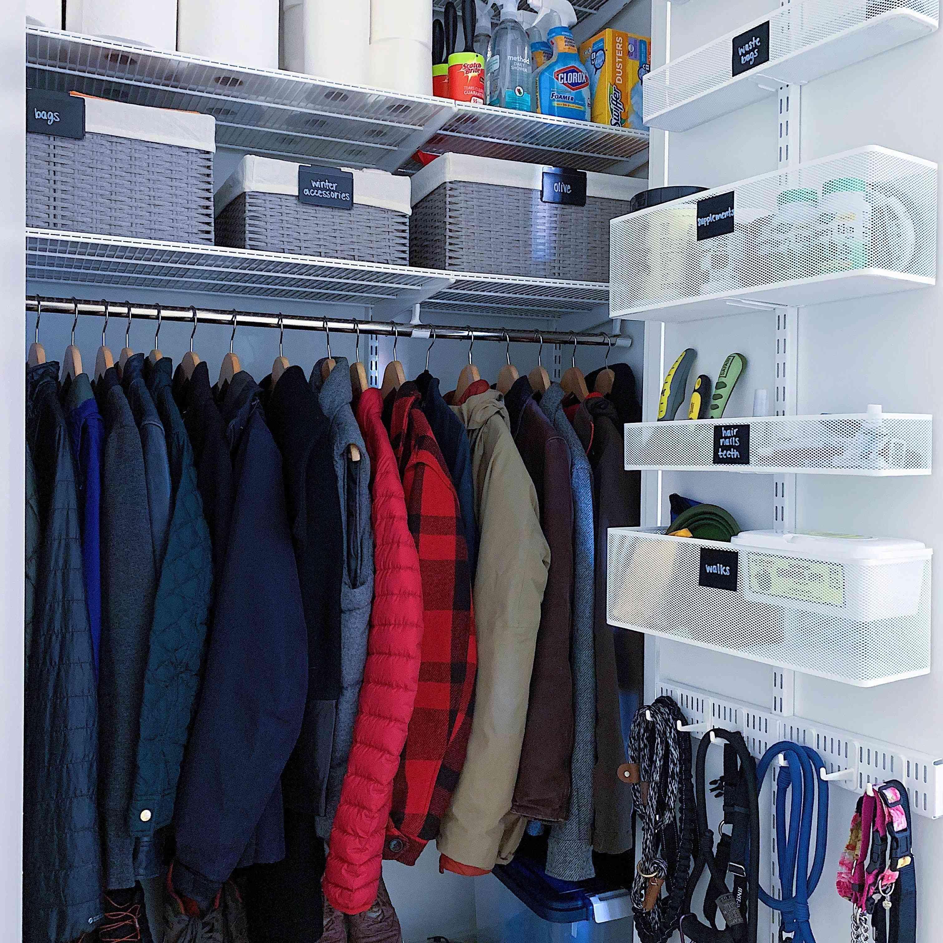 hall closet with extra high shelving