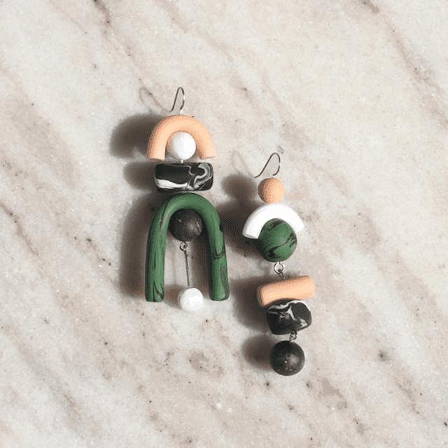 Asymmetrical Clay Earrings