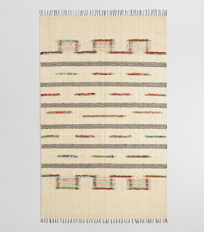 5'x8' Bleached Jute and Woven Chindi Safara Area Rug: White - 5' x 8' by World Market