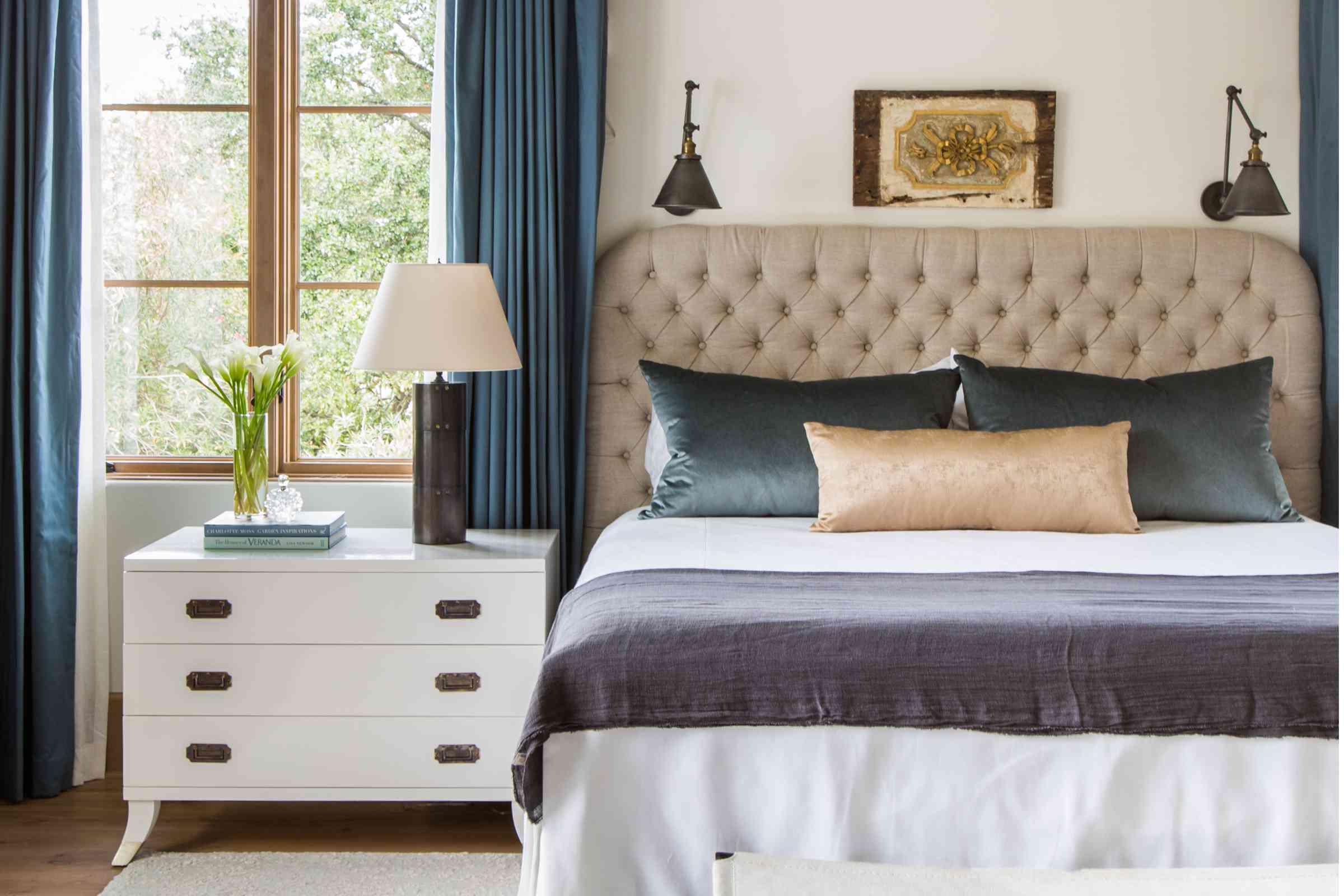 Bedroom with mix of dark blues
