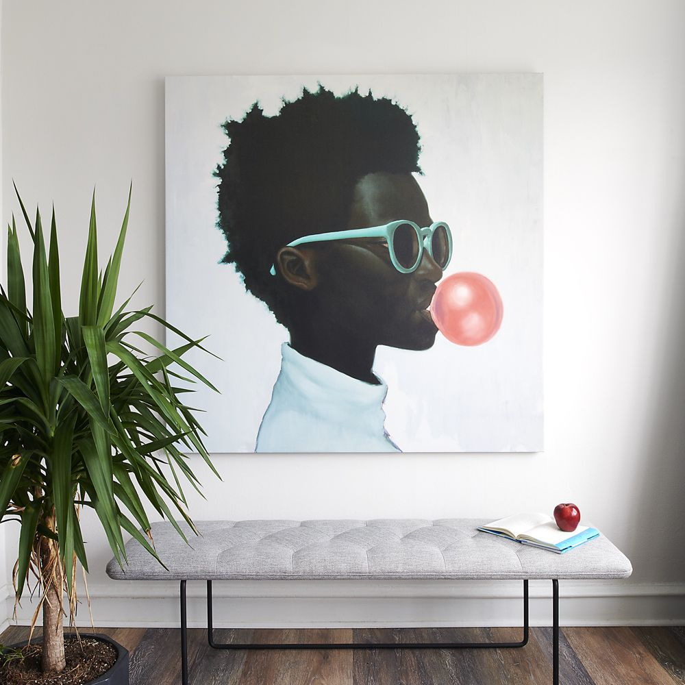 Large painting of a young Black child blowing a bubble with bubblegum