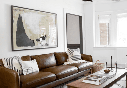 how to clean a leather couch - leather couch in modern living room